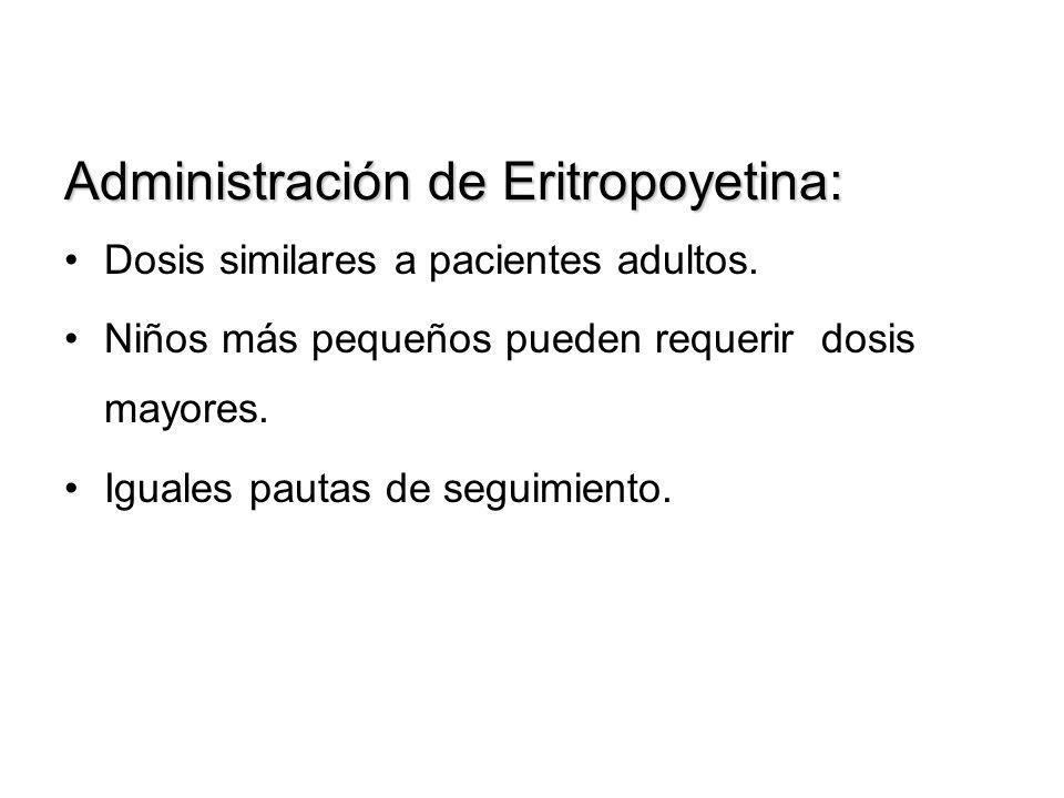 Administración de Eritropoyetina: Dosis similares a pacientes adultos. Niños más pequeños pueden requerir dosis mayores. Iguales pautas de seguimiento