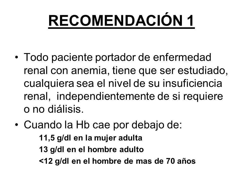 RECOMENDACIÓN 2 (I) Estudio básico: a) Hemograma completo con recuento reticulocitario, VCM, HCM.