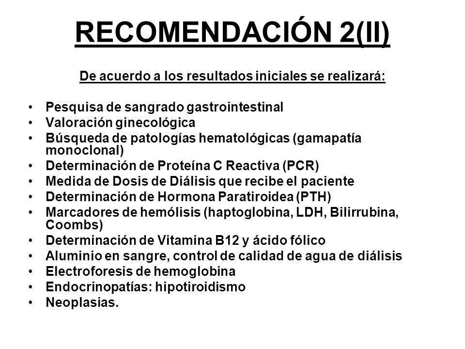 RECOMENDACIÓN 2(II) De acuerdo a los resultados iniciales se realizará: Pesquisa de sangrado gastrointestinal Valoración ginecológica Búsqueda de pato