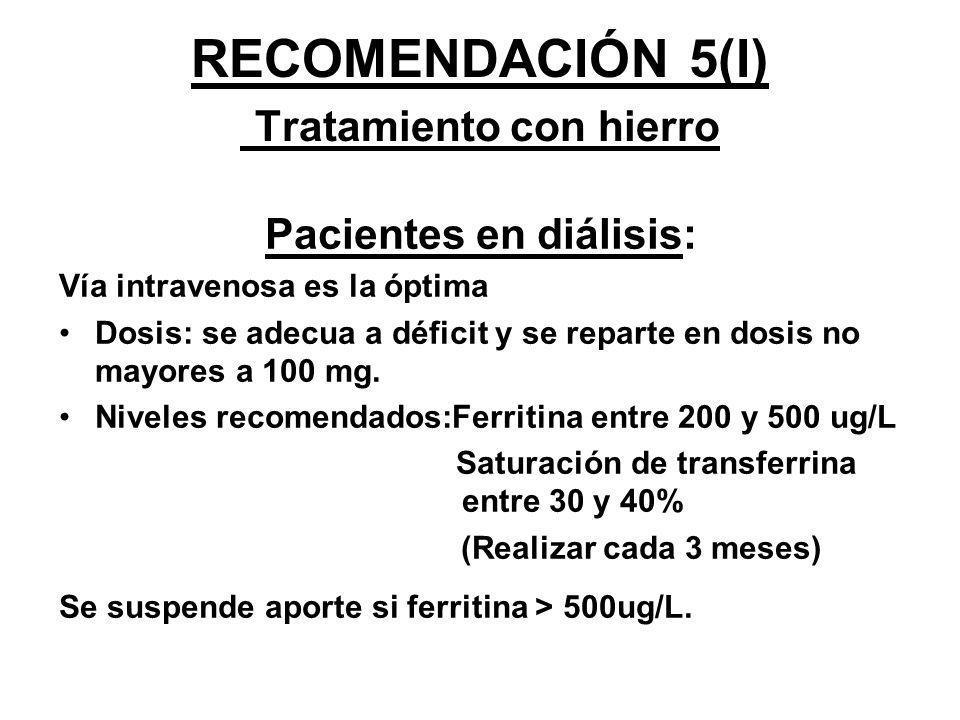 RECOMENDACIÓN 5(I) Tratamiento con hierro Pacientes en diálisis: Vía intravenosa es la óptima Dosis: se adecua a déficit y se reparte en dosis no mayo