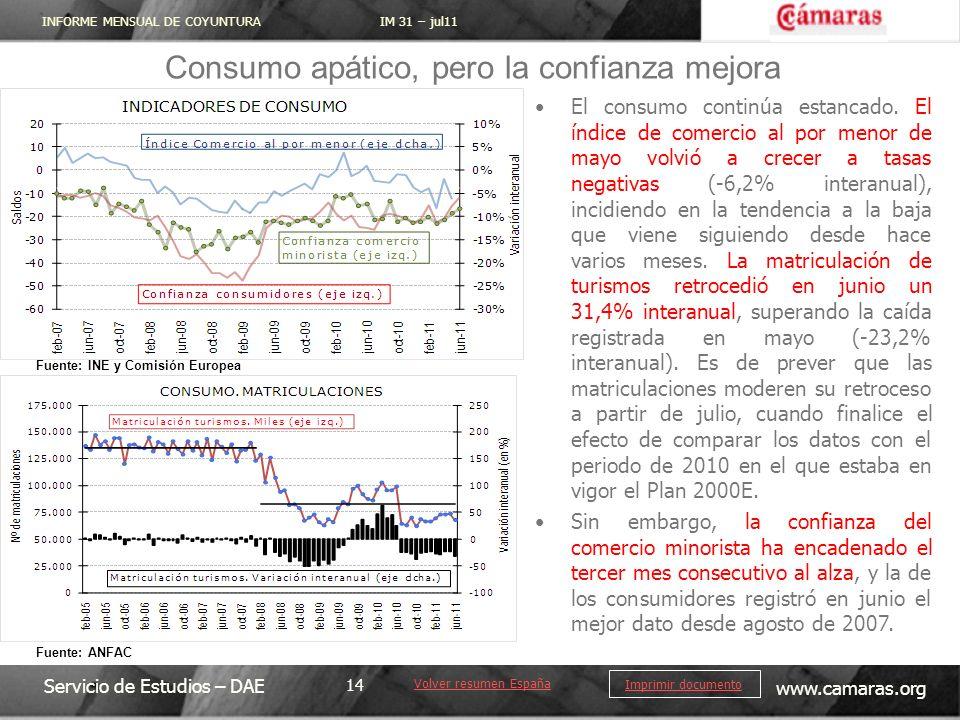 INFORME MENSUAL DE COYUNTURA IM 31 – jul11 Servicio de Estudios – DAE www.camaras.org 14 Imprimir documento El consumo continúa estancado.