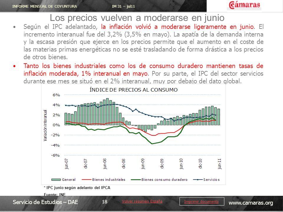 INFORME MENSUAL DE COYUNTURA IM 31 – jul11 Servicio de Estudios – DAE www.camaras.org 18 Imprimir documento Según el IPC adelantado, la inflación volvió a moderarse ligeramente en junio.