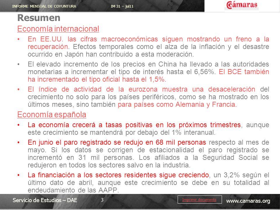 INFORME MENSUAL DE COYUNTURA IM 31 – jul11 Servicio de Estudios – DAE www.camaras.org 3 Imprimir documento Resumen Economía internacional En EE.UU.