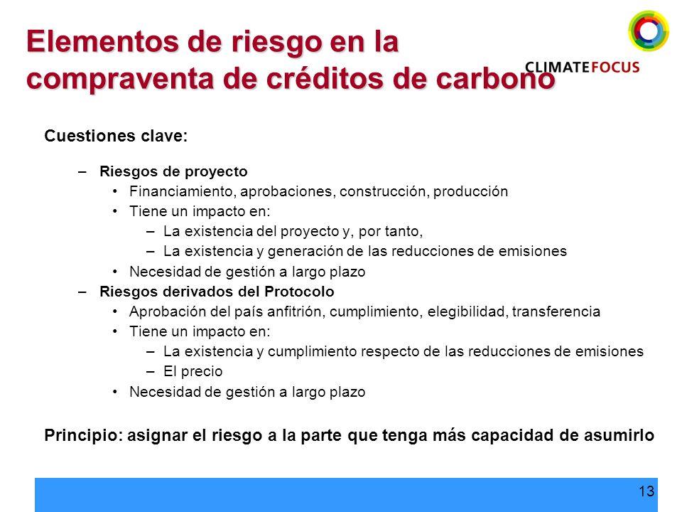 13 Elementos de riesgo en la compraventa de créditos de carbono Cuestiones clave: –Riesgos de proyecto Financiamiento, aprobaciones, construcción, pro