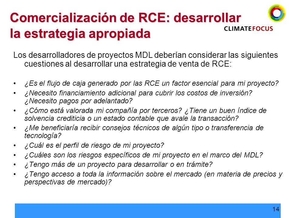 14 Comercialización de RCE: desarrollar la estrategia apropiada Los desarrolladores de proyectos MDL deberían considerar las siguientes cuestiones al