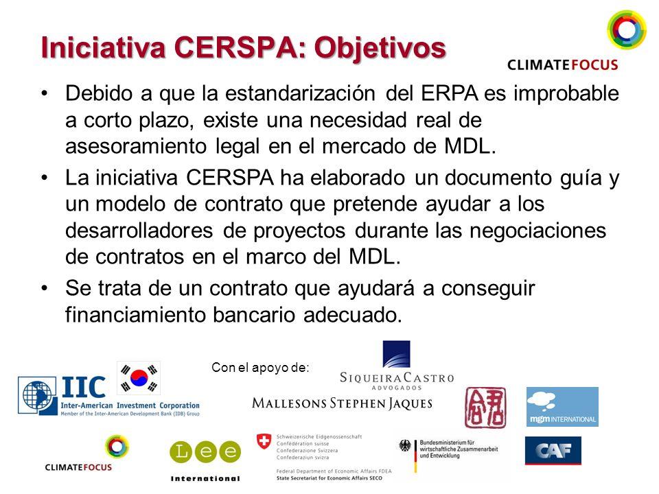 17 Iniciativa CERSPA: Objetivos Debido a que la estandarización del ERPA es improbable a corto plazo, existe una necesidad real de asesoramiento legal