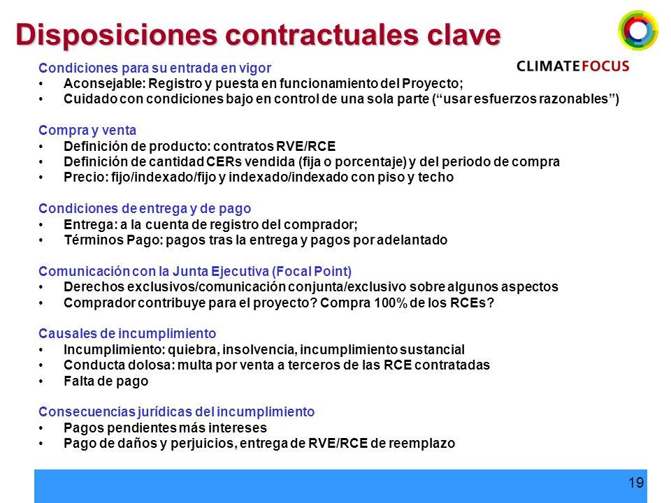 19 Disposiciones contractuales clave Condiciones para su entrada en vigor Aconsejable: Registro y puesta en funcionamiento del Proyecto; Cuidado con c