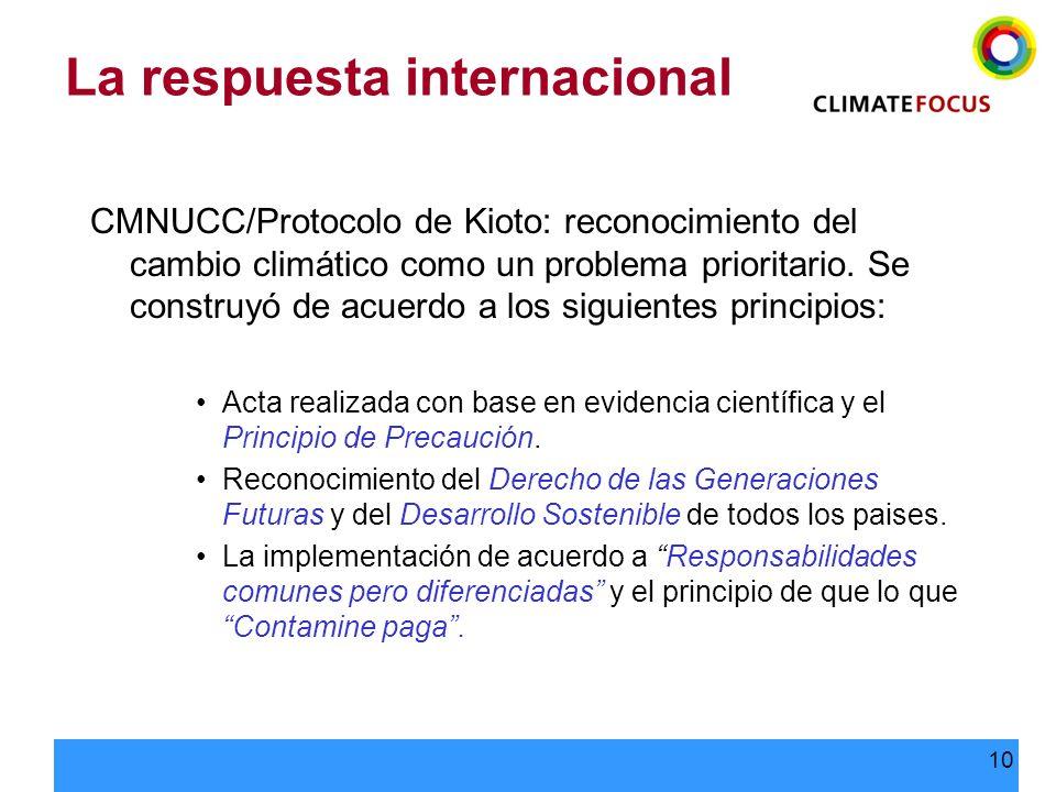 10 La respuesta internacional CMNUCC/Protocolo de Kioto: reconocimiento del cambio climático como un problema prioritario. Se construyó de acuerdo a l