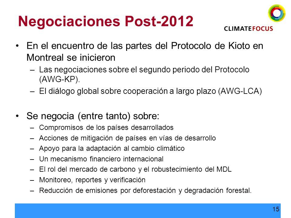 15 Negociaciones Post-2012 En el encuentro de las partes del Protocolo de Kioto en Montreal se inicieron –Las negociaciones sobre el segundo periodo d