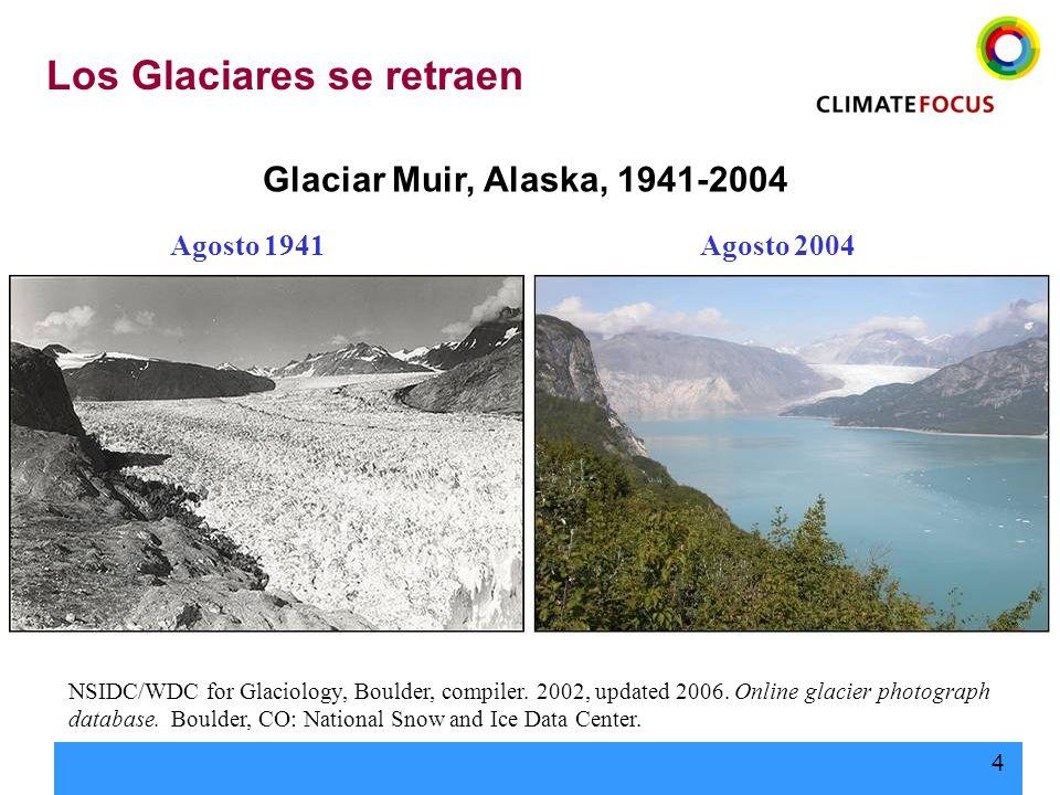 4 Glaciar Muir, Alaska, 1941-2004 NSIDC/WDC for Glaciology, Boulder, compiler. 2002, updated 2006. Online glacier photograph database. Boulder, CO: Na