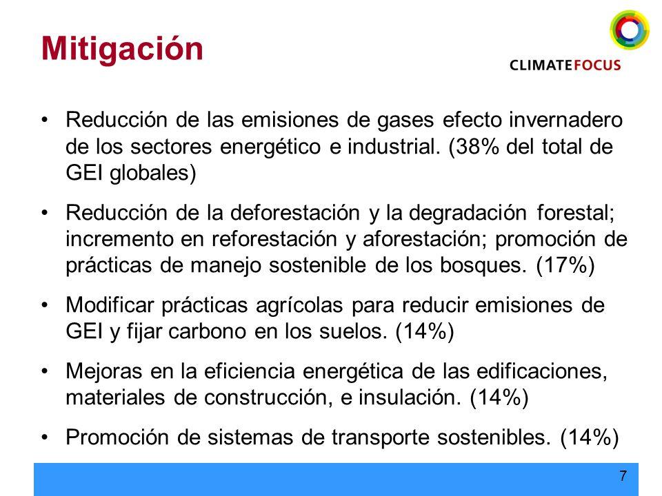 7 Mitigación Reducción de las emisiones de gases efecto invernadero de los sectores energético e industrial. (38% del total de GEI globales) Reducción