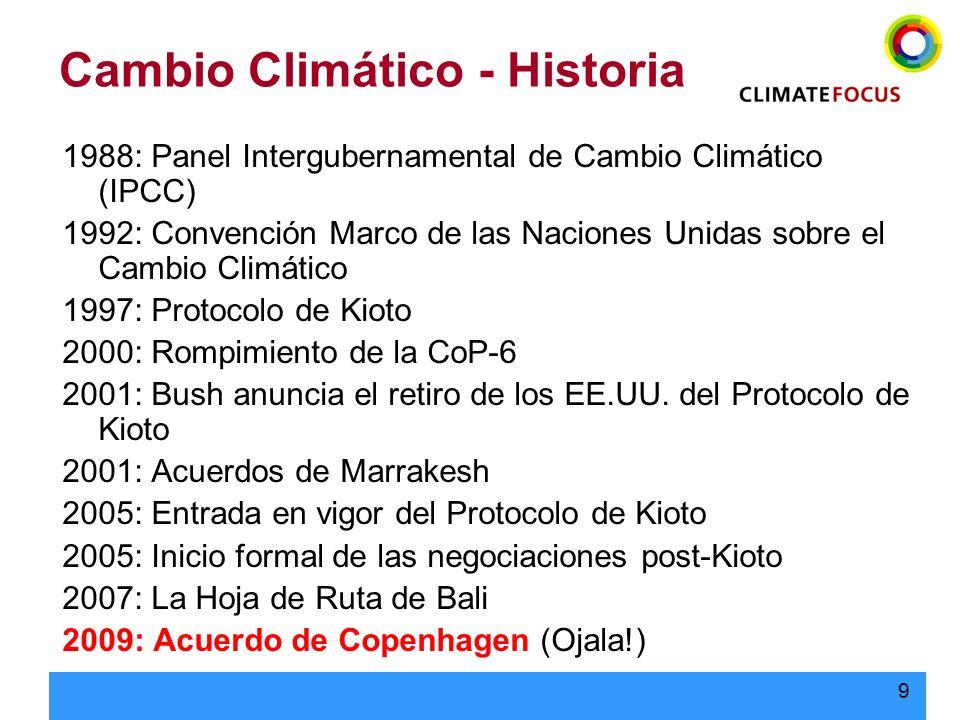 9 Cambio Climático - Historia 1988: Panel Intergubernamental de Cambio Climático (IPCC) 1992: Convención Marco de las Naciones Unidas sobre el Cambio