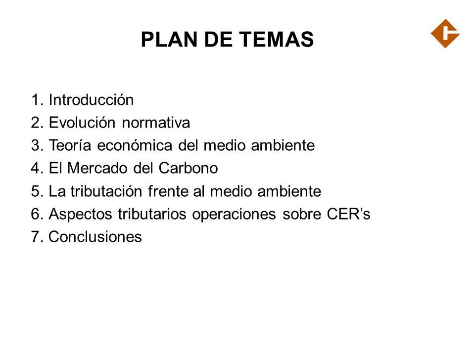 PLAN DE TEMAS 1.Introducción 2. Evolución normativa 3. Teoría económica del medio ambiente 4. El Mercado del Carbono 5. La tributación frente al medio