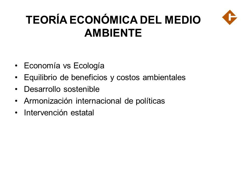 TEORÍA ECONÓMICA DEL MEDIO AMBIENTE Economía vs Ecología Equilibrio de beneficios y costos ambientales Desarrollo sostenible Armonización internaciona