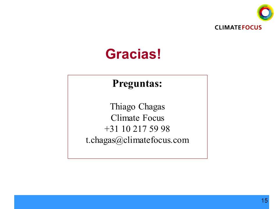 15 Preguntas: Thiago Chagas Climate Focus +31 10 217 59 98 t.chagas@climatefocus.com Gracias!