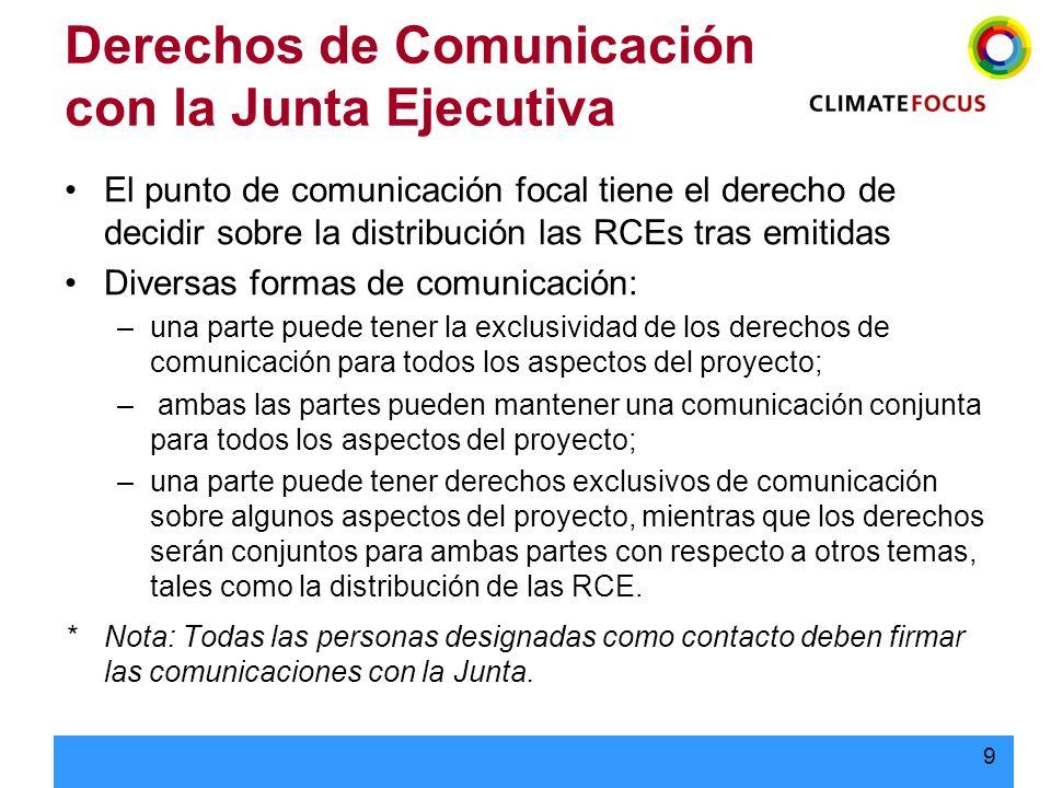 10 Derechos de Comunicación con la Junta Ejecutiva En el CERSPA: –El Vendedor actúa como el centro de coordinación de todas las comunicaciones relacionadas al Proyecto con la Junta Ejecutiva, en particular en lo relativo a las instrucciones acerca de las distribución de las RCEs al momento de su emisión.