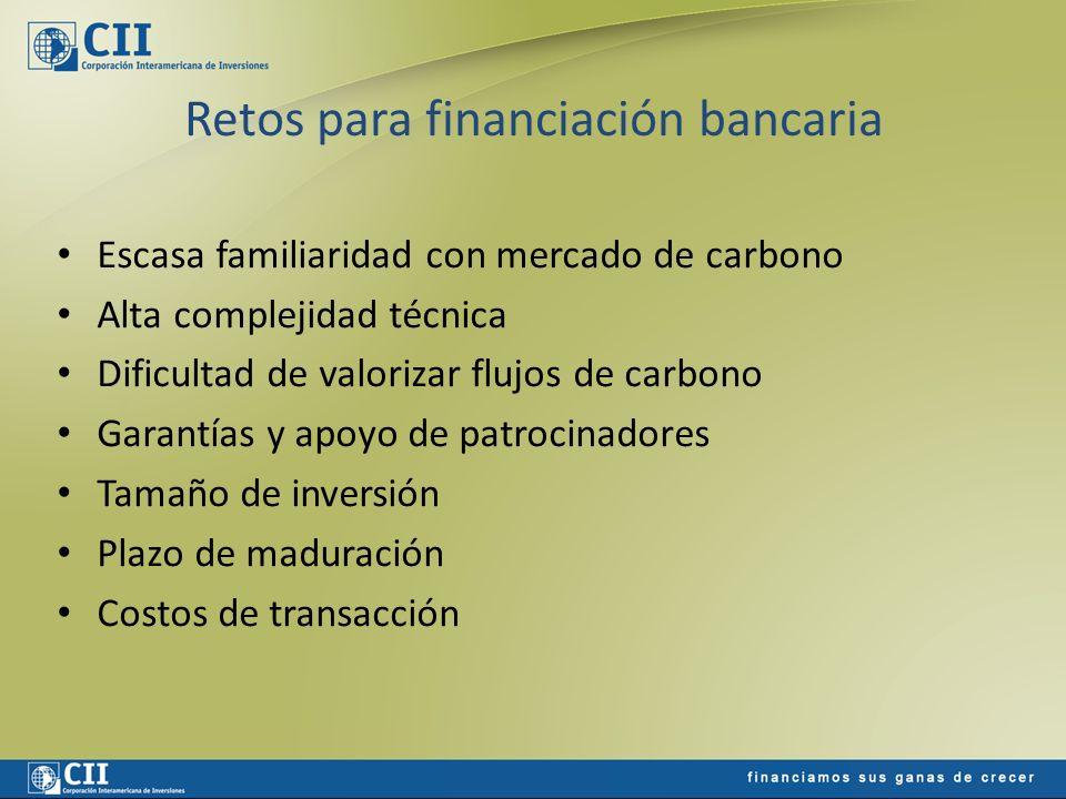 Retos para financiación bancaria Escasa familiaridad con mercado de carbono Alta complejidad técnica Dificultad de valorizar flujos de carbono Garantí