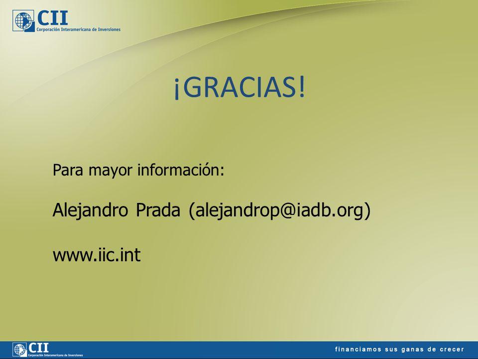 ¡GRACIAS! Para mayor información: Alejandro Prada (alejandrop@iadb.org) www.iic.int