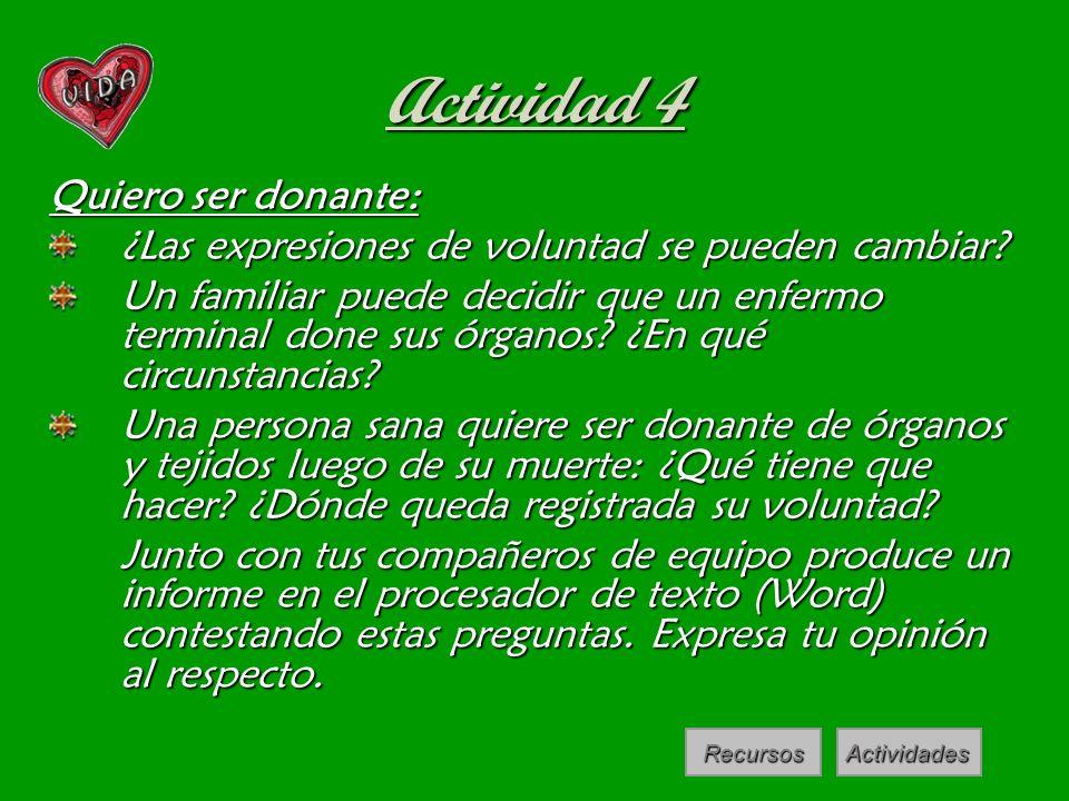 Actividad 4 Quiero ser donante: ¿Las expresiones de voluntad se pueden cambiar? Un familiar puede decidir que un enfermo terminal done sus órganos? ¿E
