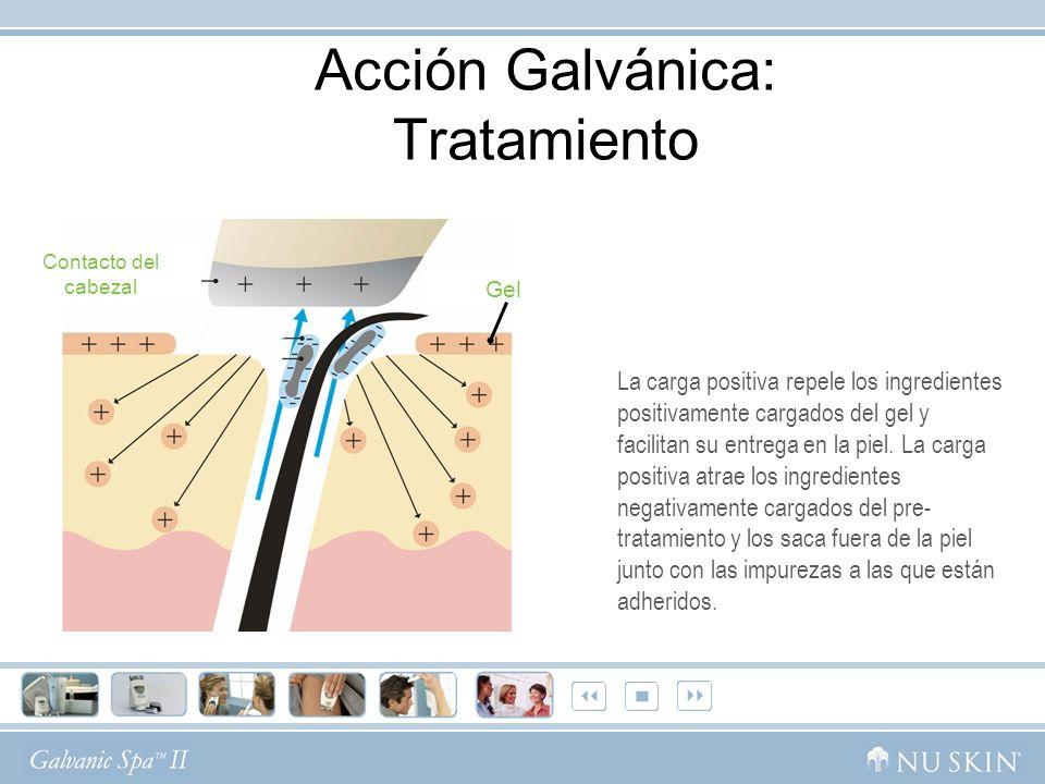 Contacto del cabezal Gel Acción Galvánica: Tratamiento La carga positiva repele los ingredientes positivamente cargados del gel y facilitan su entrega