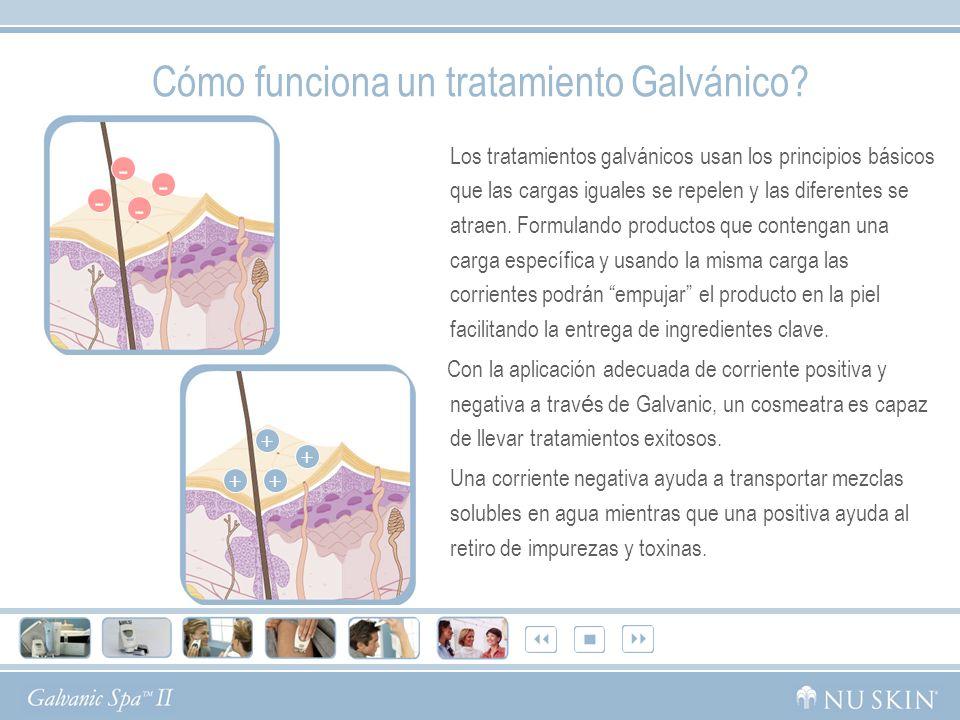 Cómo funciona un tratamiento Galvánico? Los tratamientos galvánicos usan los principios básicos que las cargas iguales se repelen y las diferentes se
