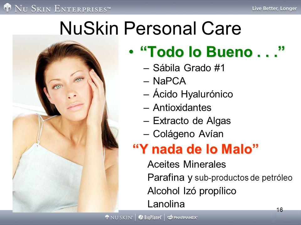 16 NuSkin Personal Care Todo lo Bueno...Todo lo Bueno... –Sábila Grado #1 –NaPCA –Ácido Hyalurónico –Antioxidantes –Extracto de Algas –Colágeno Avían