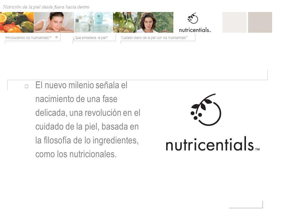 Nutrición de afuera hacia adentro ¿Qué embellece la piel?Cuidado diario de la piel con los Nutricentials Introduciendo los Nutricentials El nuevo mile