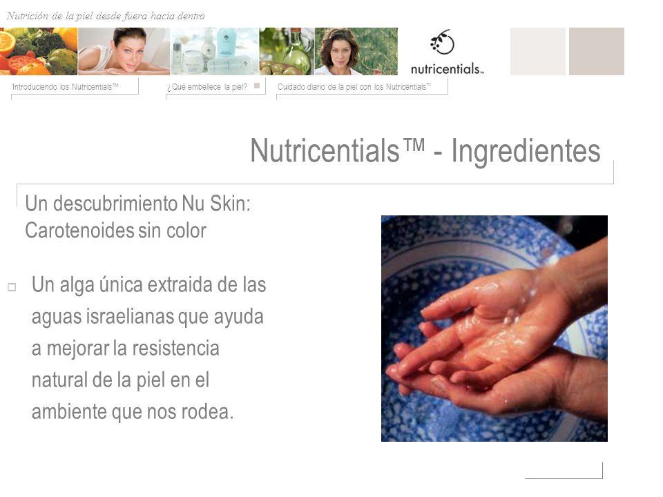Nutrición de afuera hacia adentro ¿Qué embellece la piel?Cuidado diario de la piel con los Nutricentials Introduciendo los Nutricentials Nutricentials