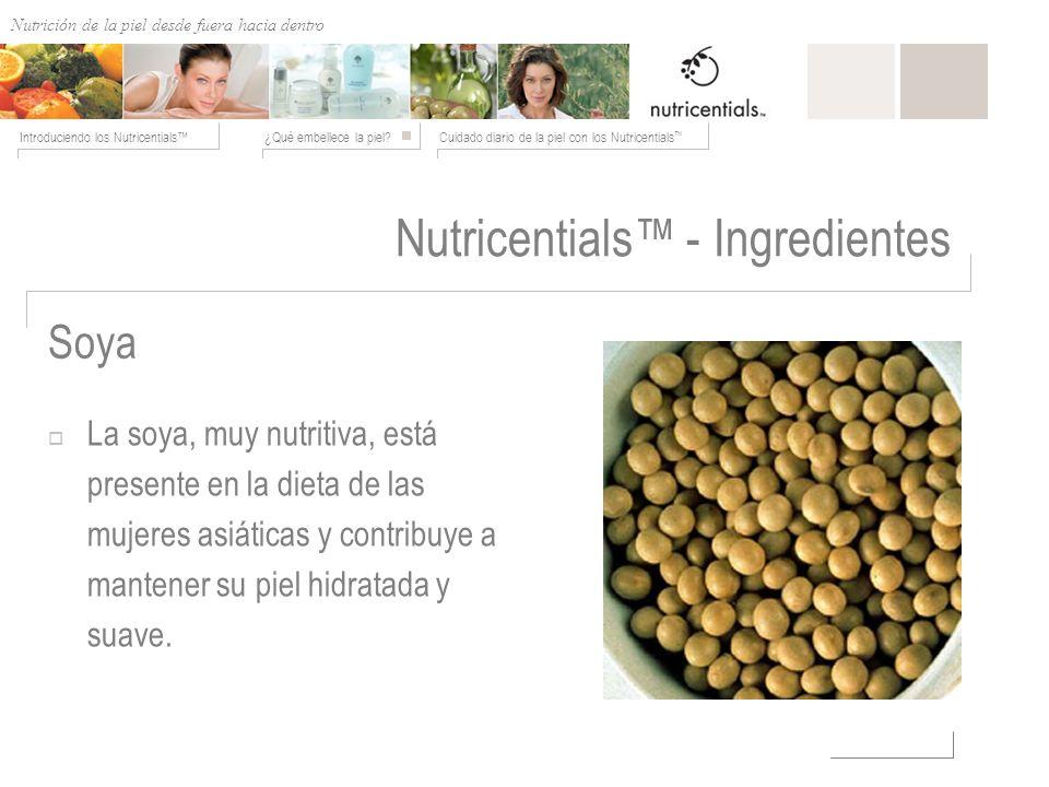Nutrición de afuera hacia adentro ¿Qué embellece la piel?Cuidado diario de la piel con los Nutricentials Introduciendo los Nutricentials Soya Nutricen