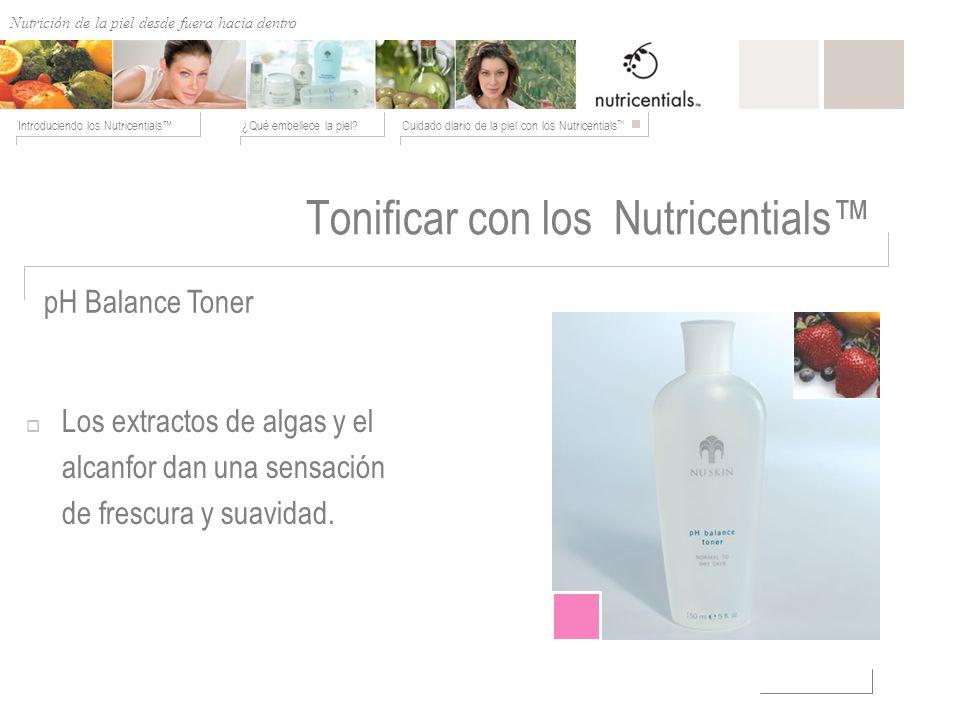 Nutrición de afuera hacia adentro ¿Qué embellece la piel?Cuidado diario de la piel con los Nutricentials Introduciendo los Nutricentials Tonificar con