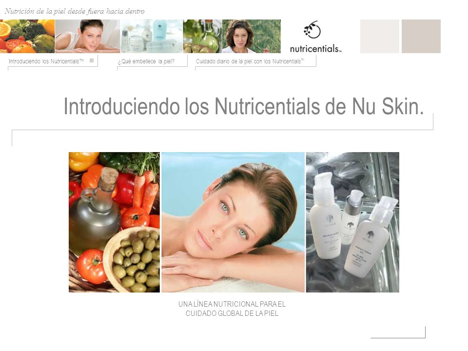 Nutrición de afuera hacia adentro ¿Qué embellece la piel?Cuidado diario de la piel con los Nutricentials Introduciendo los Nutricentials Introduciendo