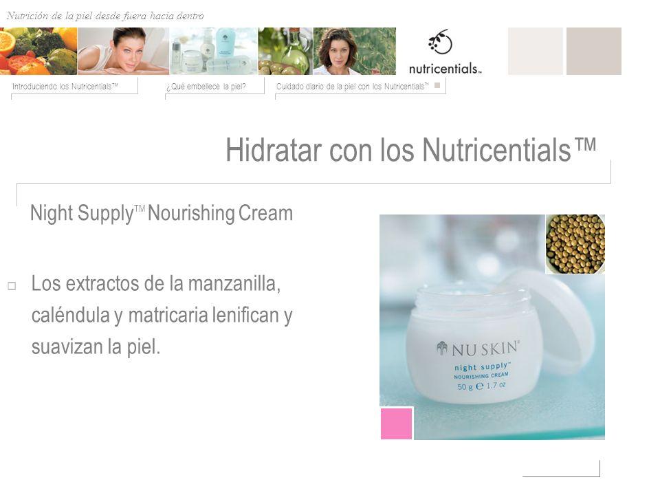 Nutrición de afuera hacia adentro ¿Qué embellece la piel?Cuidado diario de la piel con los Nutricentials Introduciendo los Nutricentials Night Supply