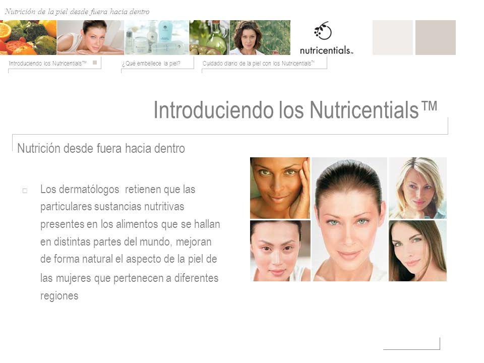 Nutrición de afuera hacia adentro ¿Qué embellece la piel?Cuidado diario de la piel con los Nutricentials Introduciendo los Nutricentials Los dermatólo