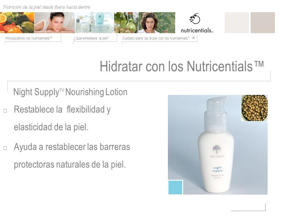 Nutrición de afuera hacia adentro ¿Qué embellece la piel?Cuidado diario de la piel con los Nutricentials Introduciendo los Nutricentials Hidratar con