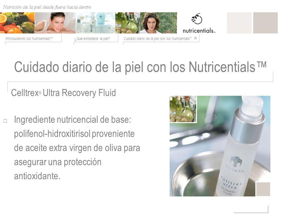 Nutrición de afuera hacia adentro ¿Qué embellece la piel?Cuidado diario de la piel con los Nutricentials Introduciendo los Nutricentials Celltrex ® Ul