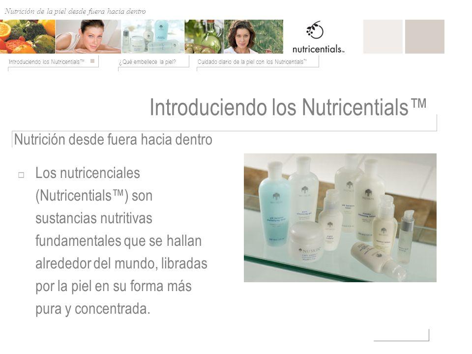 Nutrición de afuera hacia adentro ¿Qué embellece la piel?Cuidado diario de la piel con los Nutricentials Introduciendo los Nutricentials Nutrición des