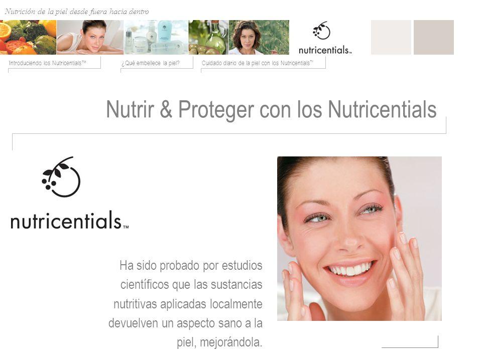 Nutrición de afuera hacia adentro ¿Qué embellece la piel?Cuidado diario de la piel con los Nutricentials Introduciendo los Nutricentials Nutrir & Prot