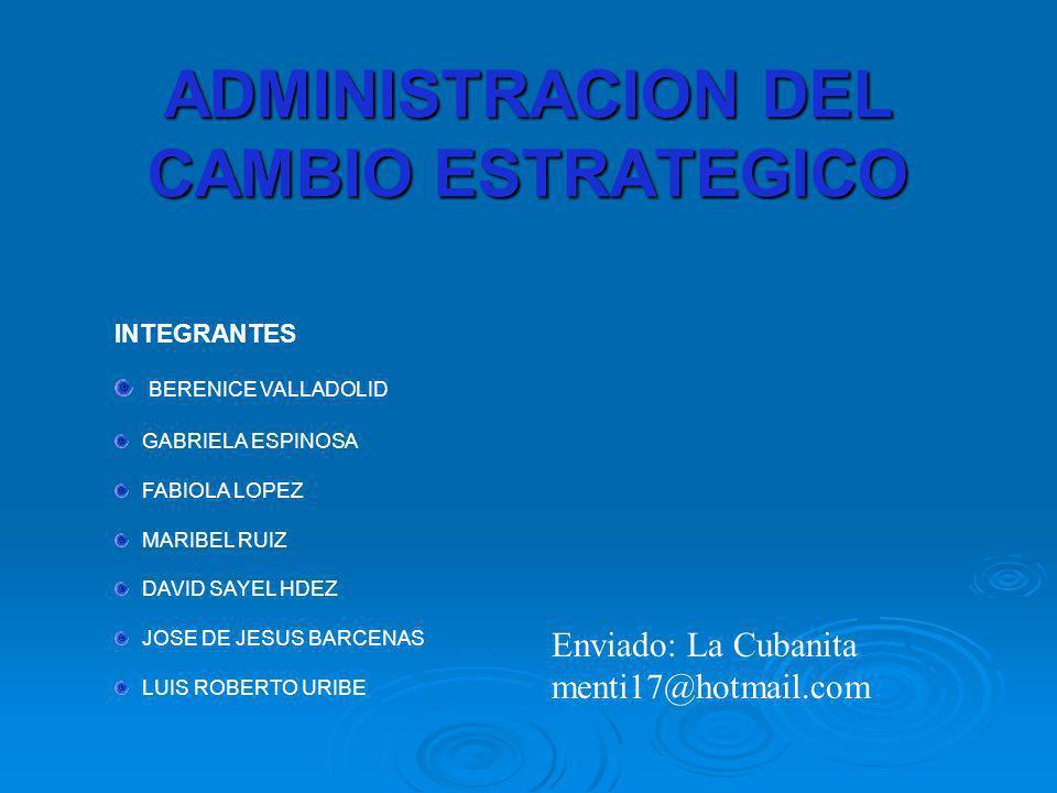 ADMINISTRACION DEL CAMBIO ESTRATEGICO INTEGRANTES BERENICE VALLADOLID GABRIELA ESPINOSA FABIOLA LOPEZ MARIBEL RUIZ DAVID SAYEL HDEZ JOSE DE JESUS BARC