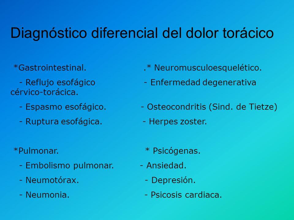 Diagnóstico diferencial del dolor torácico *Cardiovascular. Origen isquémico: - Arteriosclerosis coronaria. - Estenosis aórtica. - Miocardiopatia hipe