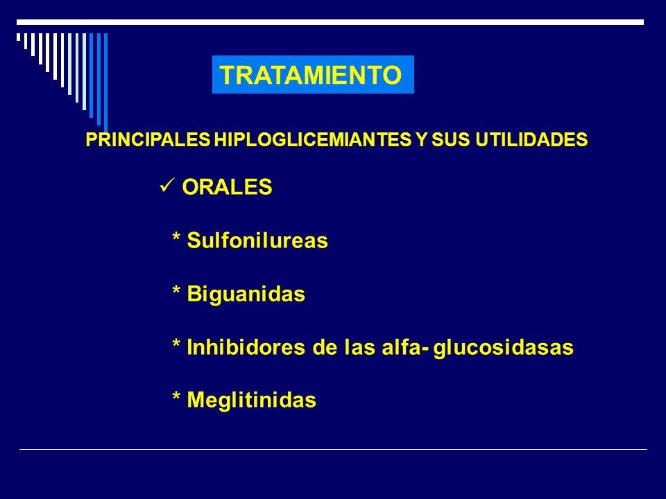 TRATAMIENTO PRINCIPALES HIPLOGLICEMIANTES Y SUS UTILIDADES ORALES * Sulfonilureas * Biguanidas * Inhibidores de las alfa- glucosidasas * Meglitinidas