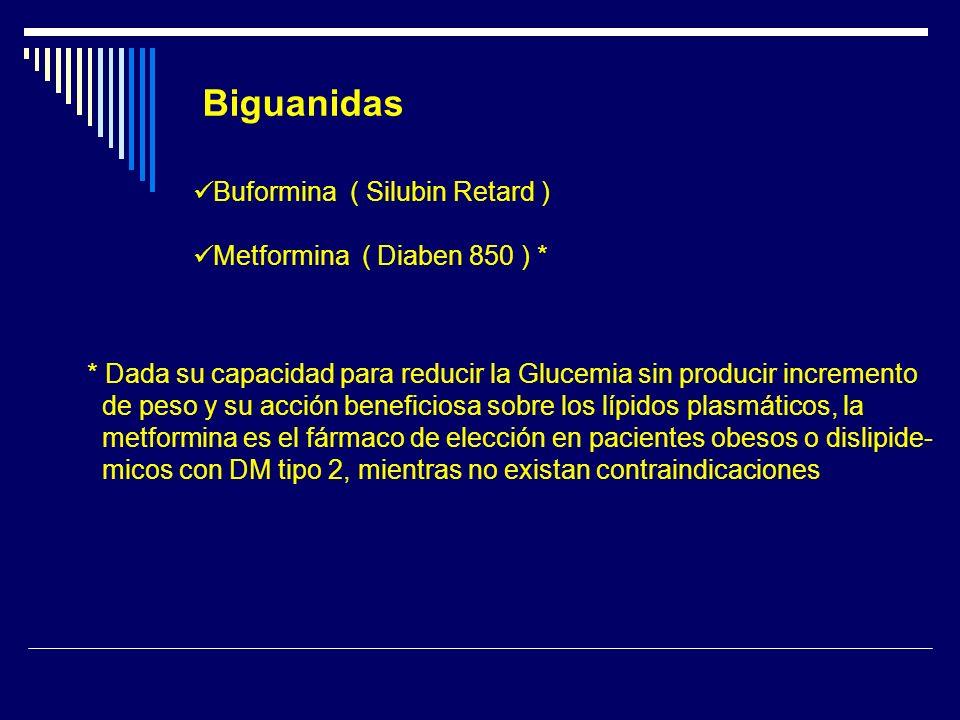 Biguanidas Buformina ( Silubin Retard ) Metformina ( Diaben 850 ) * * Dada su capacidad para reducir la Glucemia sin producir incremento de peso y su