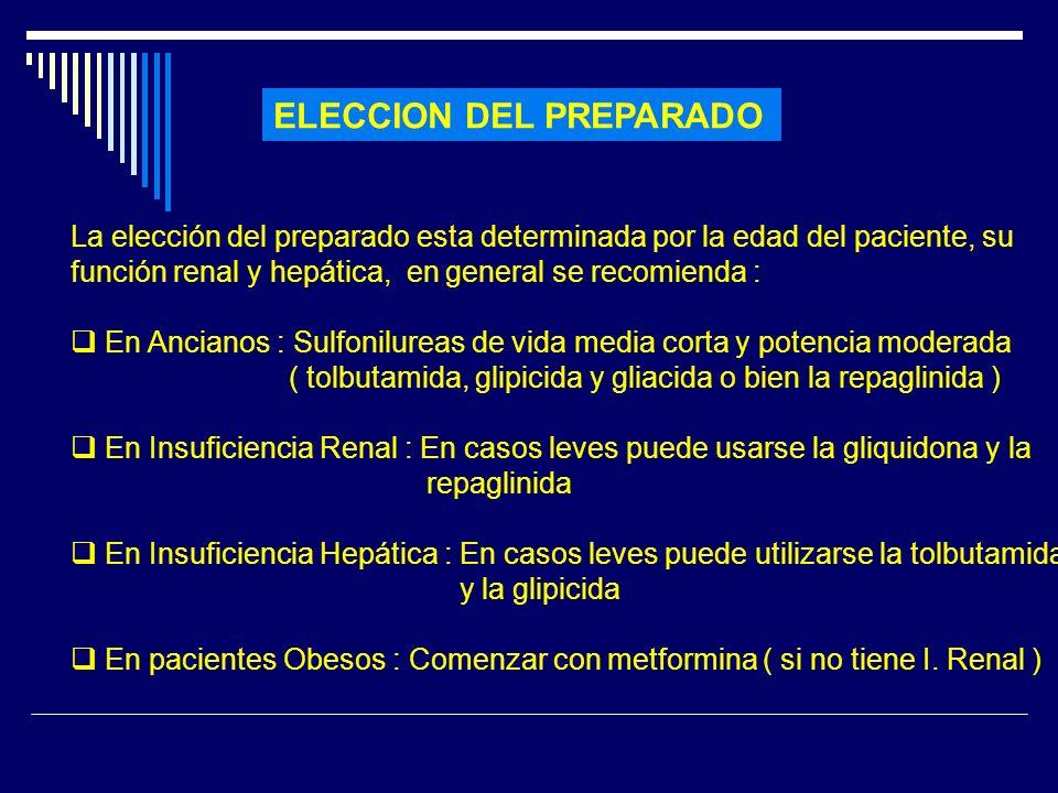 ELECCION DEL PREPARADO La elección del preparado esta determinada por la edad del paciente, su función renal y hepática, en general se recomienda : En