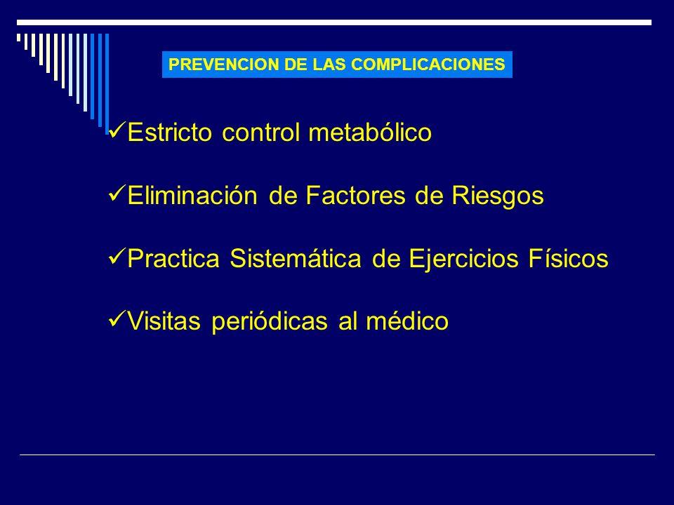 PREVENCION DE LAS COMPLICACIONES Estricto control metabólico Eliminación de Factores de Riesgos Practica Sistemática de Ejercicios Físicos Visitas per