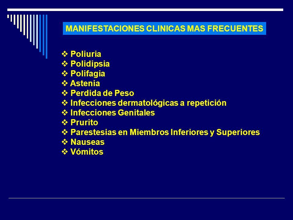 MANIFESTACIONES CLINICAS MAS FRECUENTES Poliuria Polidipsia Polifagia Astenia Perdida de Peso Infecciones dermatológicas a repetición Infecciones Geni