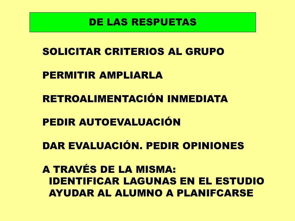 DE LAS RESPUETAS SOLICITAR CRITERIOS AL GRUPO PERMITIR AMPLIARLA RETROALIMENTACIÓN INMEDIATA PEDIR AUTOEVALUACIÓN DAR EVALUACIÓN. PEDIR OPINIONES A TR