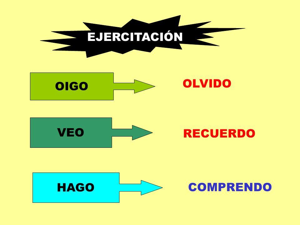 EJERCITACIÓN OIGO VEO HAGO OLVIDO RECUERDO COMPRENDO
