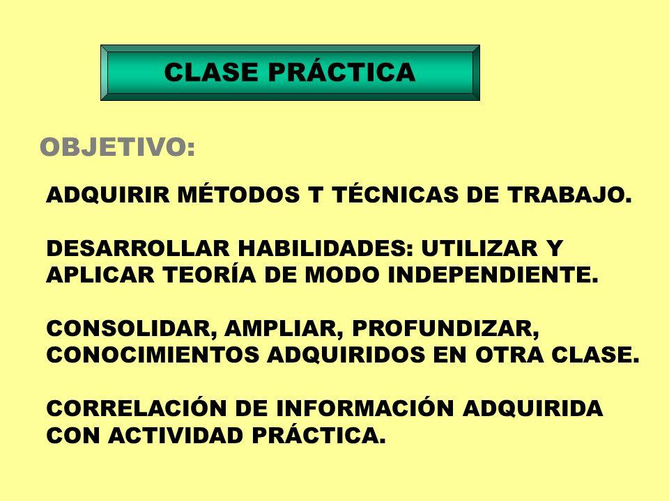 CLASE PRÁCTICA FUNCIONES: INSTRUCTIVA - EDUCATIVA - DE CONTROL MODALIDADES: PRÁCTICAS ADQUIRIR HABILIDADES MANUALES DOCENTE EXPONE ASPECTOS TEÓRICOS PAPEL DEL PROFESOR CONDUCIR PARA LOGRAR OBJETIVOS GRUPO DE ALUMNOS HASTA 15