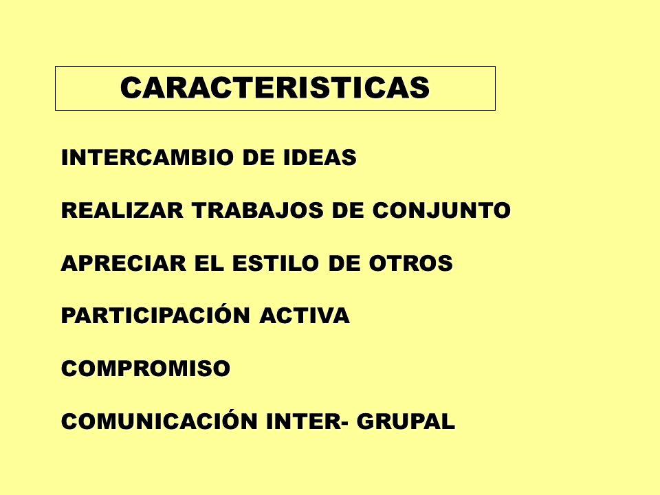 CARACTERISTICAS INTERCAMBIO DE IDEAS REALIZAR TRABAJOS DE CONJUNTO APRECIAR EL ESTILO DE OTROS PARTICIPACIÓN ACTIVA COMPROMISO COMUNICACIÓN INTER- GRU