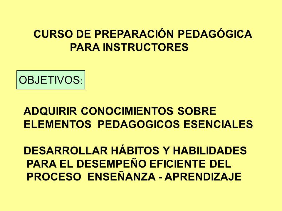 TEMAS DEL CURSO NORMAS BÁSICAS DE LA INSTRUCCIÓN TRABAJO EN GRUPOS DETERMINAR NECESIDADES DE APRENDIZAJE PROGRAMAS DE ESTUDIO COMUNICACIÓN.