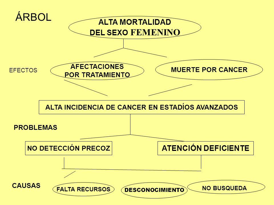 ALTA MORTALIDAD DEL SEXO FEMENINO AFECTACIONES POR TRATAMIENTO MUERTE POR CANCER ALTA INCIDENCIA DE CANCER EN ESTADÍOS AVANZADOS NO DETECCIÓN PRECOZ A
